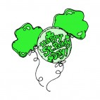 Happy St Paddy day green balloon, decals stickers