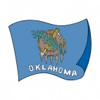 Oklahoma state flag waving, decals stickers