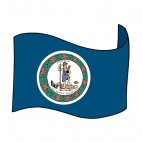 Virginia state flag waving, decals stickers