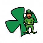 Leprechaun with shamrock drawing, decals stickers