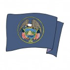 Utah state flag waving, decals stickers