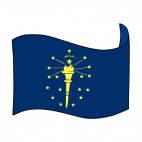 Indiana state flag waving, decals stickers