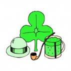 Derby Hat  Shamrock Pipe and Green beer mug, decals stickers