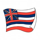 Hawaii state flag waving, decals stickers