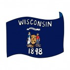 Wisconsin state flag waving, decals stickers