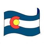 Colorado state flag waving, decals stickers