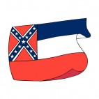 Mississippi state flag waving, decals stickers