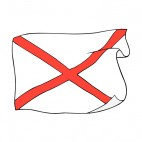 Alabama state flag waving, decals stickers