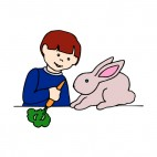 Boy feeding bunny with carrot, decals stickers