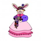 Bunny lady with hat and pink dress, decals stickers