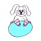 Bunny sitting on blue egg, decals stickers