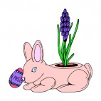Bunny planter with flower, decals stickers