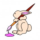 Pink bunny holding paint brush, decals stickers