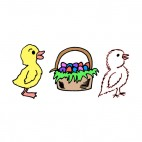 Yellow and white chicks with easter egg basket, decals stickers