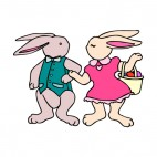 Mr and Mrs bunny with egg basket, decals stickers