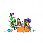 Easter egg basket with flower, decals stickers