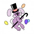 Purple bunny with hat and cane dancing , decals stickers