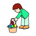 Boy picking up easter egg basket, decals stickers