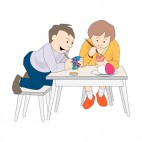 Boy and girl coloring eggs, decals stickers