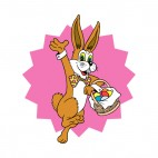 Brown bunny with easter egg basket, decals stickers