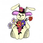 Bunny with hat and flowers, decals stickers