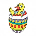 Duck in multi colored easter egg, decals stickers