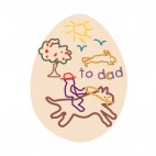 Easter egg with to dad drawing , decals stickers