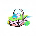Multi colored easter egg basket, decals stickers