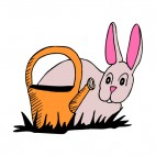 Pink bunny with watering can, decals stickers