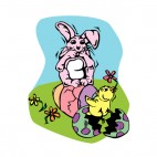 Bunny looking at easter egg hatching with chick, decals stickers