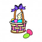 Easter egg basket with multi colors eggs, decals stickers