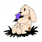 Bunny plush with purple lily, decals stickers