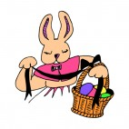 Bunny with easter egg basket, decals stickers