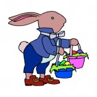 Bunny with blue and pink easter egg baskets, decals stickers