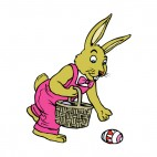 Bunny picking up easter egg, decals stickers