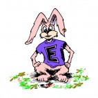 Bunny with purple shirt with the letter E on it, decals stickers