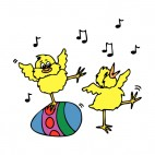 Chicks with easter egg dancing, decals stickers