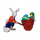 Bunny with cart containing easter eggs and chick, decals stickers