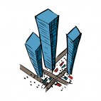 Sky view of office building with traffic & pedestrians , decals stickers