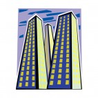 Three skyscrapers at night, decals stickers