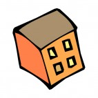 Orange with brown roof office bungalow, decals stickers
