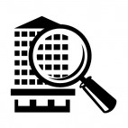 Real estate magnifying glass and building, decals stickers