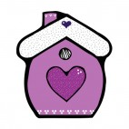Purple and white house with hearts, decals stickers