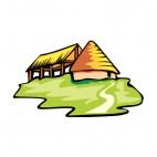 House and shelter with hay roof, decals stickers
