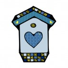 Blue birdhouse with blue heart, decals stickers