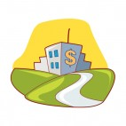 City with dollar sign landscape, decals stickers