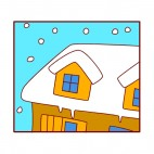 House with roof covered of snow, decals stickers