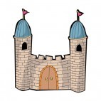 Castle with red flags and wooden door, decals stickers