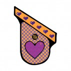 Orange and purple with heart shaped hole birdhouse, decals stickers