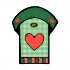 Green with red hearts birdhouse, decals stickers